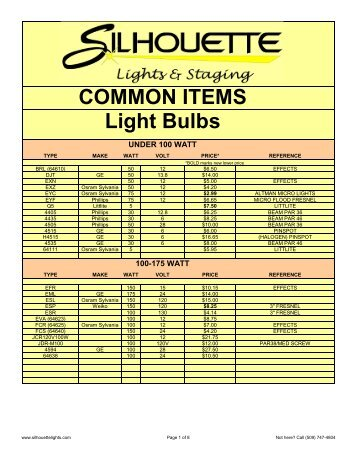 COMMON ITEMS Light Bulbs - Silhouette Lights and Staging