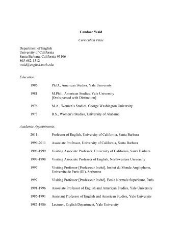 Candace Waid - UCSB English - University of California, Santa ...
