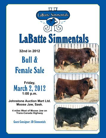2012 Bull & Female Sale Catalogue (PDF) - LaBatte Simmentals