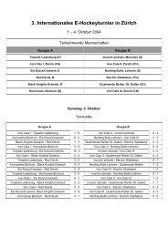 3. Internationales E-Hockeyturnier in Zürich - TSV Forstenried