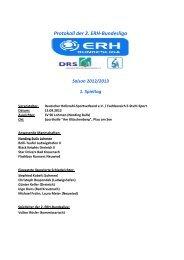 Protokoll der 2. ERH-Bundesliga Saison 2012/2013 1. Spieltag