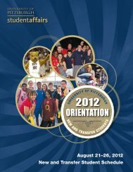 orientation station - First Year Experience - University of Pittsburgh