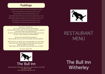 RESTAURANT MENU - The Bull Inn