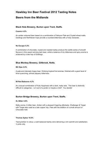 Hawkley Inn Beer Festival 2012 Tasting Notes Beers from the ...