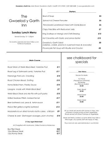 Sunday Lunch Menu - The Gwaelod Inn