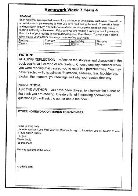 Current Homework sheet - Kowhai Intermediate School