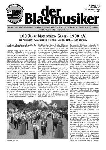 100 jahre musikverein graben 1908 ev - Blasmusikverband Karlsruhe