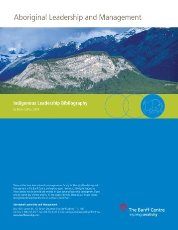 Indigenous Leadership Bibliography - The Banff Centre