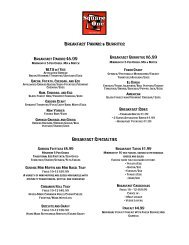 to view our catering menu - Square One Sidewalk Cafe
