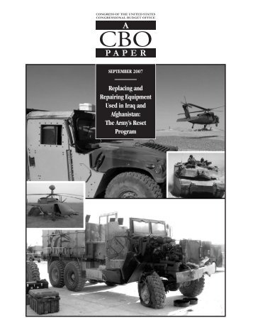 The Army's Reset Program - Congressional Budget Office