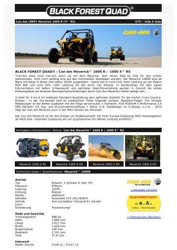 BLACK FOREST QUAD ® - Can-Am Maverick 1000 R (X RS) UTV