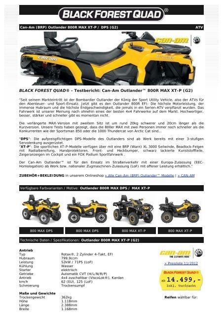 Can-Am Outlander 800R MAX XT-P / DPS (G2) - Black Forest Quad