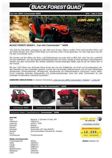 BLACK FOREST QUAD ® - Can-Am Commander 800R EFI (XT) UTV