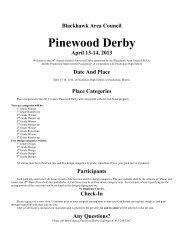 2013 Blackhawk Area Council Pinewood Derby rules