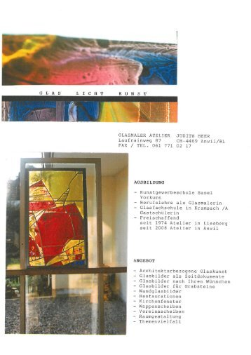Glas Licht Kunst - Glasmaler Atelier Judith Heer