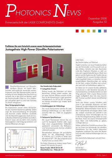 Justagefreie High-Power Dünnfilm-Polarisatoren - Laser Components