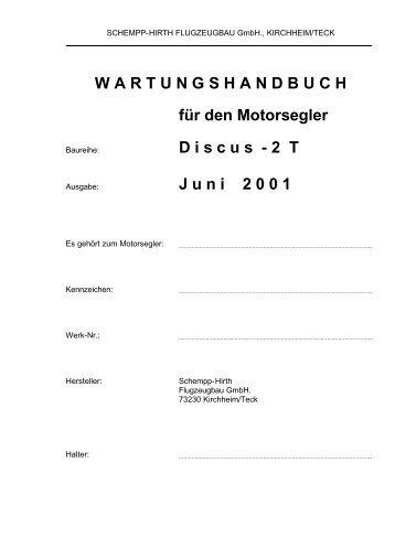 WARTUNGSHANDBUCH für den Motorsegler D iscus - Flugplatz ...