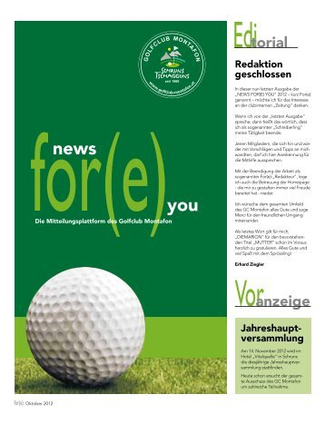 News for(e) you – Oktober 2012 - Golfclub Montafon