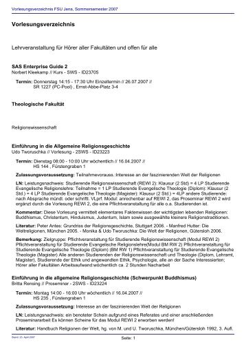 Vorlesungsverzeichnis Sommersemester 2007 - Friedolin