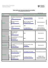 Internationale Hochschulpartnerschaften - Akademischen ...