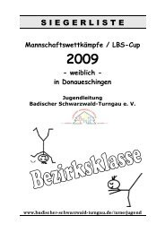 Siegerliste Einzelergebnisse - Badischer Schwarzwald-Turngau