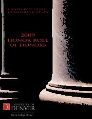 2009 hONOR ROll OF dONORS - Sturm College of Law - University ...