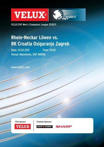 (Saison 2010/2011): RK Croatia Zagreb - Rhein-Neckar Löwen