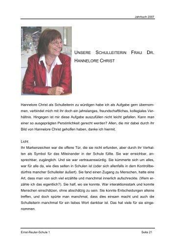 unsere schulleiterin frau dr. hannelore christ - Ernst-Reuter-Schule 1