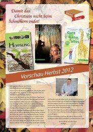 Vorschau Herbst 2012 BOAS Verlag Damit das Christsein nicht ...