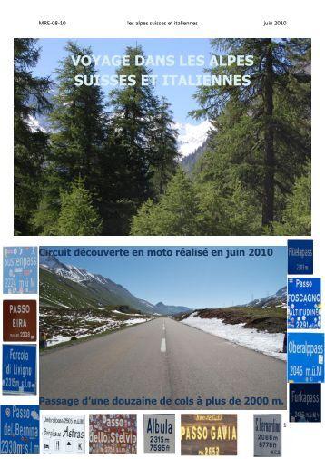 voyage dans les alpes suisses et italiennes - Track & Road
