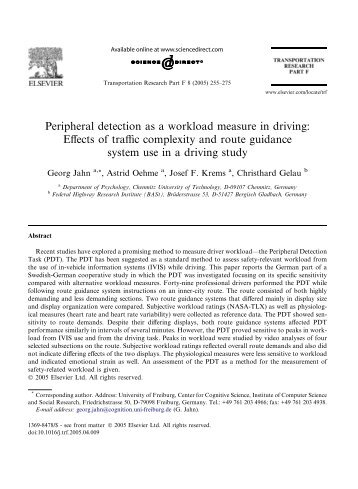 Peripheral detection as a workload measure in driving: Effects of ...