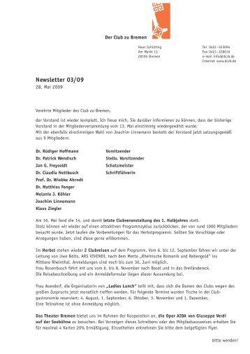Newsletter 03/09 - Der Club zu Bremen