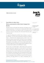 Sehr geehrte Damen und Herren, - Bach-Archiv Leipzig