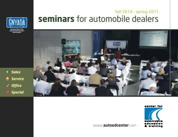 seminars for automobile dealers - Center for Automotive Education ...