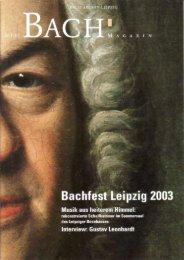 können Sie die erste Ausgabe des Magazins - Bach-Archiv Leipzig