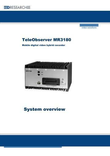 System description MR3180 - DResearch