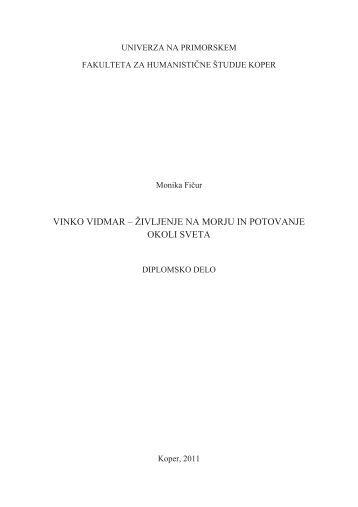 izjava o avtorstvu - Univerza na Primorskem