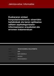 Euskararen sintaxi konputazionalerantz: oinarrizko baliabideak eta ...