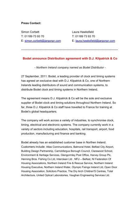 Bodet Announce Distribution Agreement With Dj Bodet Uk