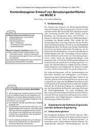 Kontextbezogener Entwurf von Benutzungsoberflächen mit MUSE II