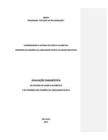 AVALIAÇÃO DIAGNÓSTICA - Secretaria Municipal de Educação