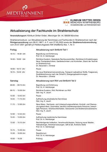 Aktualisierung der Fachkunde im Strahlenschutz - Klinikum Dritter ...