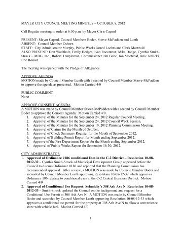Council Minutes 10/08/12 - City of Mayer