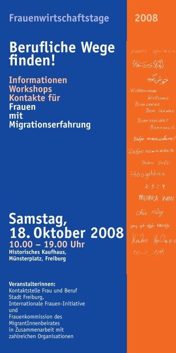 Informatio Workshops Kontakte Frauen mit Migrations Samstag, 18