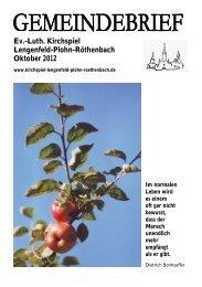 Gemeindebrief Oktober 2012 - Kirchspiel Lengenfeld Plohn ...