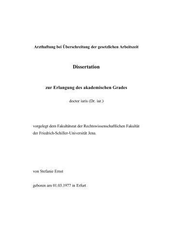 Dissertation zur Erlangung des akademischen Grades