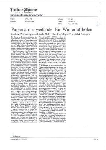 Artikel in der FAZ, Kunstmarkt, 24/11/2012 - Thole Rotermund ...