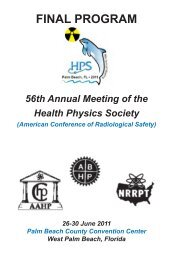 56th Annual Meeting of the Health Physics Society