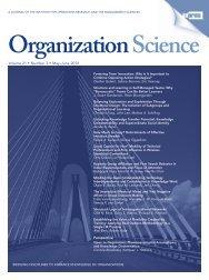 Front Matter (PDF) - Organization Science - Informs