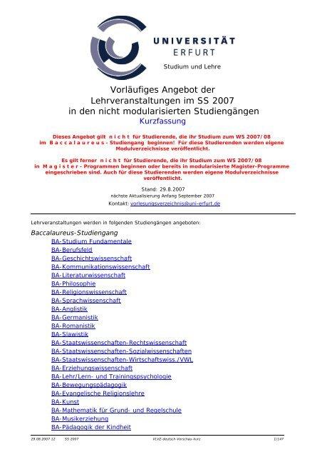 Lehrveranstaltungen im SS 2007 in den nicht ... - Universität Erfurt